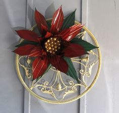 Poinsettia made from black plastic pots