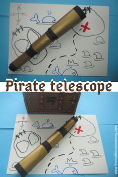 All little pirates need their very own telescope! This DIY pirate telescope is r. All little pirates need their very own telescope! This DIY pirate telescope is really simple and easy to make and will provide hours of fun! Diy Pirate Costume For Kids, Homemade Pirate Costumes, Pirate Crafts, Pirate Halloween Costumes, Diy Costumes, Diy Halloween, Pirate Hats For Kids, Pirate Maps, Pirate Theme