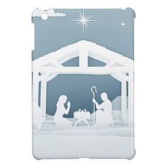 Nativity Christmas Scene Paper Art Style iPad Mini Cover - paper gifts presents gift idea customize