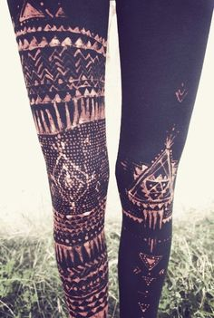 Tribal print batik leggings. DIY: Use a bleach pen to decorate solid-color leggings.