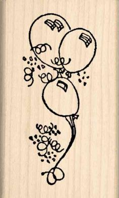 Balloons Rubber Stamp  112 inches x 212 inches * Read more  at the image link.