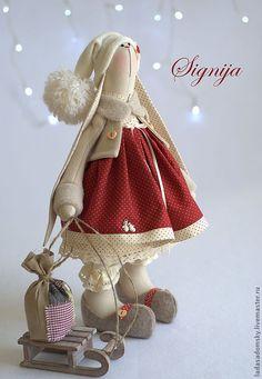 """Купить Зайка Signija - """" Зимнее настроение"""" (39 см) - бордовый, бежевый, горошек"""