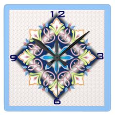 Singing Flowers Square Wall Clock by Vikki Salmela, #Bohemian #folk #floral #design on #contemporary wall #clocks for #home #fashion #decor in #kitchen #bedroom #girls or #gift