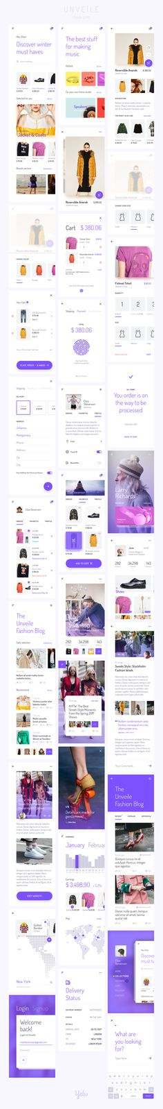 — Products — Unveile Fashion Mobile UI Kit - Love a good success story? Learn how I went from zero to 1 million in sales in 5 months with an e-commerce st Ui Design Mobile, Web Ui Design, Webdesign Inspiration, App Design Inspiration, Application Ui Design, Mobile Application, Ecommerce App, Android App Design, Ios Ui