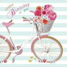 """Vintage style, girly #Birthday card from our Birdsong range. The greeting inside reads """"Wishing you a lovely day"""""""