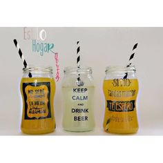 Frascos Vasos Tragos Jugos Souvenir Frases Inalterables - $ 30,00 Food Font, Ideias Diy, Mason Jars, Birthdays, Sweet Home, Baby Shower, Bottle, Crafts, Calla Lilies