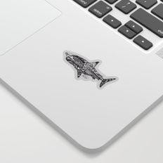 Great White Shark Ink Pattern Sticker