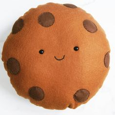 Cute Cookie Cushion, Milk Choc Chip, Soft Toy, Cookie Plushie, Food Pillow, Caramel Biscuit, Plush Food, Kitchen Decor, Kids bedroom Decor by peenanator on Etsy