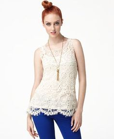 crochet lace tank top. I'm thinking with a maxi skirt and a pretty cardigan :)