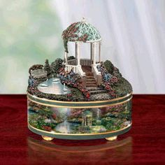 Thomas Kinkade Pools Of Serenity Music Box Thomas Kinkade Art, Antique Music Box, Kinkade Paintings, Pretty Box, Altered Boxes, Gifts For Brother, Wedding Tattoos, Treasure Boxes, Little Boxes