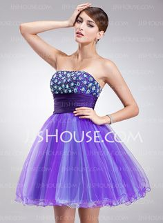 A-Line Princess Strapless Short Mini Tulle Homecoming Dress With Beading 1c4757e40