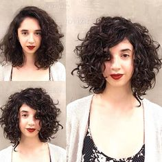 Short-to-Mid-Hairstyle-for-Thick-Curly-Hair Best Short Curly Hair Ideas in 2019
