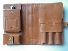 Glenroyal leather travel cigar case, cigar holder, leather wrapped flask