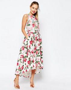 ASOS SALON Summer Rose Organza Crop Top Midi Prom Dress
