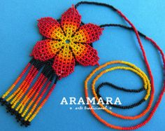 Mexican Huichol Beaded Red Flower Necklace CFM-0024 by Aramara