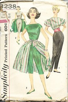 1950's Simplicity 3238 Misses Pants In Two Lengths, Overskirt, Blouse And Cummerbund Sewing Pattern, Size 12, Bust 32 by DawnsDesignBoutique on Etsy