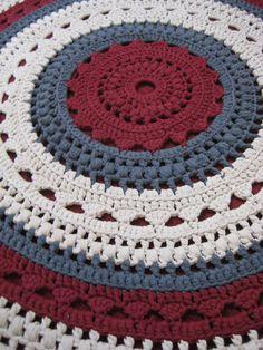 Handmade in Wales. Crochet Rug using ribbon yarn. www.craftsisters.co.uk