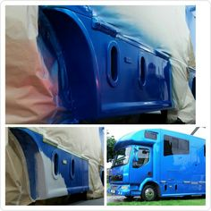 Paint repairs done.  Bottom right image was taken when it was new. #KPHLTD #HorseHour #horseboxesforsale #horseboxes #DAF