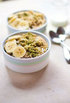 Energizing Coconut Matcha Green Tea Oatmeal. Part of Healthy Dairy Free, Gluten Free Meal Plan Recipes