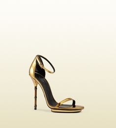 Gucci - metallic leather sandal with bamboo shaped heel 370473BRK008023