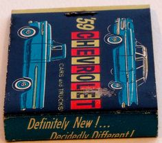 1959 Chevrolet #frontstriker #matchbook - To order your Business' own branded #matchbooks & #matchboxes GoTo: www.Getmatches.com or call 800.605.7331 to get the process started today!