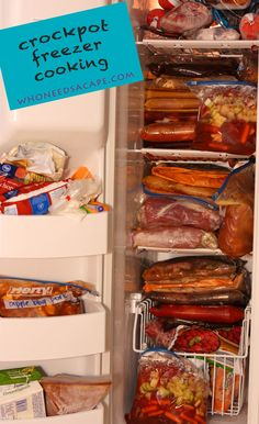--This may just save me- Crockpot Freezer Cooking - 40 meals in 4 hours!  I am repinning because after reading a million of these receipes this is the first one to say she hates over cooked mushed veggies.  She adds nicely steamed veggies/salad on the side, which really take about two minutes to pull together anyhow.  I cannot and will not eat mush, so yay!! Crock Pot Slow Cooker, Crock Pot Cooking, Slow Cooker Freezer Meals, Slow Cooker Recipes, Make Ahead Freezer Meals, Crock Pot Freezer, Cooking Tips, Cooking Recipes, Freezer Cooking