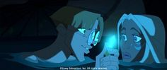 Milo Thatch (left), an expert on the ancient civilization of Atlantis, and Princess Kida (right), daughter of the Atlantean king, join forces to explore an underwater cave that holds valuable secrets.