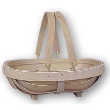 Oblong Wood Slat Basket w/ Drop Down Handles, 14 x 11 x 4 Item 361540