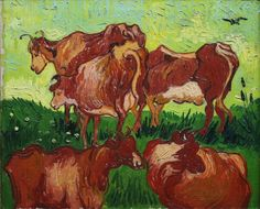 "Vincent van Gogh, ""Cows, after Jordaens"" Auvers-sur-Oise, France: July, 1890. Musée des Beaux-Arts de Lille."