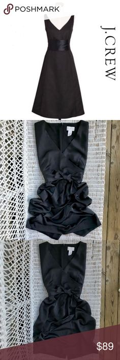 "NWOT {J. CREW} Black Satin Sash-tie Dress ▪️Luxurious, silky, thick high-end satin will make you look & feel sophisticated, elegant, & gorgeous! ▪️Perfect Party Stunner!  ▪️Fitted, wrap-style bodice ▪️Ultra-flattering A-line silhouette, enhanced by skillfully placed seams & darting ▪️Sash can be tied in front or back for 2 diff looks! Secured by thin loops on sides   🔹41"" LENGTH  🔹18-18.5"" Across chest (bottom of arms) 🔹15.5"" Waist  {NB: *All measurements approximate}  🔻🔺BRAND NEW —…"