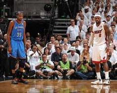 Kevin Durant of the Oklahoma City Thunder and LeBron James of the Miami Heat during Game Three of the 2012 NBA Finals, http://www.fansedge.com/LeBron-James-Kevin-Durant-Miami-Heat-Oklahoma-City-Thunder-NBA-Finals-Game-3-6172012-_-1580240962_PD.html?social=pinterest_pfid77-20247