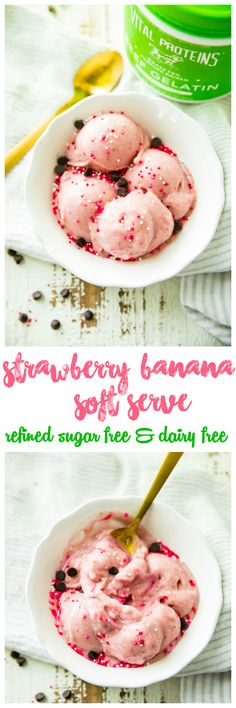 What if I told you that you could have a huge bowl full of Strawberry Banana Soft Serve ready in minutes, in the comfort of your own home, and all for under 100 calories per serving? Did I also mention there is no added sugar, it's high in protein, and 100 percent delicious, creamy, and nutritious? Yep, it's true! Be prepared to enjoy ice cream in a whole new way! AD