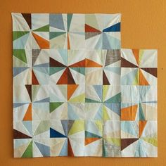 "Spotted Stones: mulling it over. The block pattern is ""Kathy's Block"" from Gwen Marston's book Liberated Quiltmaking II."