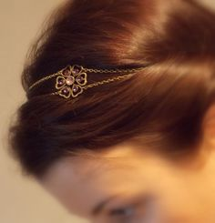 Headbanb - Bijou de tête fleur mauve et taupe