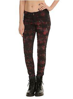 """Red plaid skinny pants with a black tie dye wash, 5-pocket styling and button & zip closure.<ul><li> 32"""" inseam; 10"""" leg opening</li><li>97% cotton; 3% spandex</li><li>Wash cold; dry flat </li><li>Imported </li></ul>"""