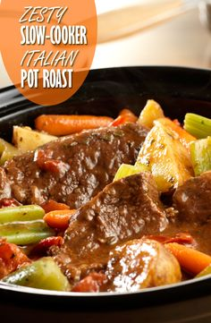 Zesty Slow-Cooker Italian Pot Roast Recipe - Chuck roast, potatoes, celery and carrots simmer to tenderness in the slow-cooker with an Italian-inspired tomato sauce made special with Campbell's® Condensed Tomato Soup.
