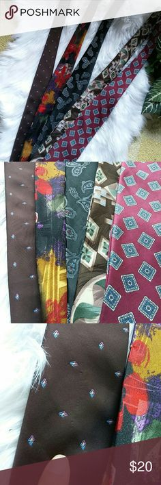 Men's neckties This is a lot of five men neckties the last two to the right are hundred percent pure silk in the other three to the left are polyester. All in good condition except the brown to the left has a slight snag and also the black one has a few snags on the Tazewell see pics for details Stafford Accessories Ties