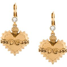 Dolce & Gabbana Sacred Heart earrings (1,350 SAR) ❤ liked on Polyvore featuring jewelry, earrings, metallic, dolce gabbana jewelry, gold tone earrings, earring jewelry, gold tone jewelry and logo earrings