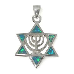 Jewish Jewelry Gift White /& Clear Beads Star of David//Menorah Pendant Hand Made by DANON 18 Long Pewter Pendent Necklace