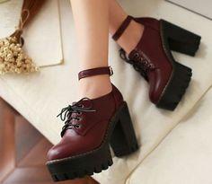 Nuevas señoras Block Grueso Plataforma Creeper correa de tobillo Lace Up High Heels Shoes