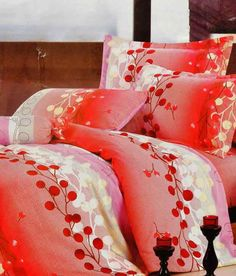 Valtellina Cherry Print Double Bed Sheet - Cherry Print just makes it so Tempting and Truly Pure Delight :)