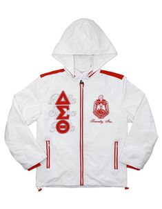 New Greek Sorority inspired windbreaker jacket. High quality lined inside windbreaker jacket with stitched greek letters. Zip up front, patched logos, sorority colors. Sorority Paddles, Sorority Recruitment, Sorority Canvas, Sorority Gifts, Sorority Outfits, Delta Sigma Theta Apparel, Delta Gamma, Delta Sorority, Jackets