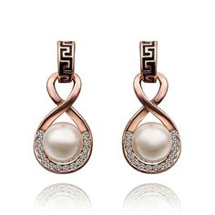 Gnzoe Jewelry, 18K Rose Gold Drop Earrings Infinity Pearl Crystal Eco Friendly >>> Read more reviews of the product by visiting the link on the image.