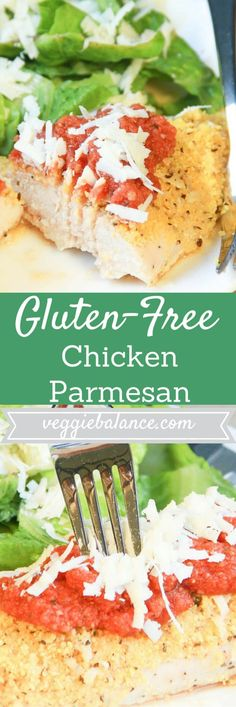 Gluten Free Chicken Parmesan | Say hello to the Italian dinner of the year! Parmesan crust chicken parmesan topped with a homemade marinara | Gluten-Free, High Protein, Healthy