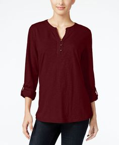 Style & Co. Crochet-Trim Henley Top, Only at Macy's