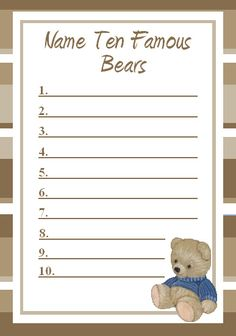 Famous Bears Name Game