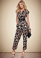 belted leopard jumpsuit