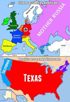 Map of Europe as seen by Americans. Map of USA as seen by Europeans. Close enough. Funny Shit, The Funny, Funny Stuff, Funny Things, Funny Quotes, Funny Memes, Jokes, Funny Videos, Funniest Memes