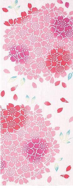 Japanese washcloth, Tenugui 手ぬぐい 手毬桜 cherry blossoms