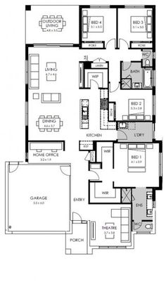 Duplex Floor Plans, House Floor Plans, 4 Bedroom House Designs, Circle House, Plan Design, Ui Design, Beautiful House Plans, Floor Layout, Building Companies